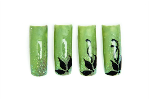 step-by-step-model-unghii-verde-sclipici-Flori-negre